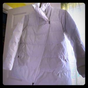 Lucy long bias zip puffer coat